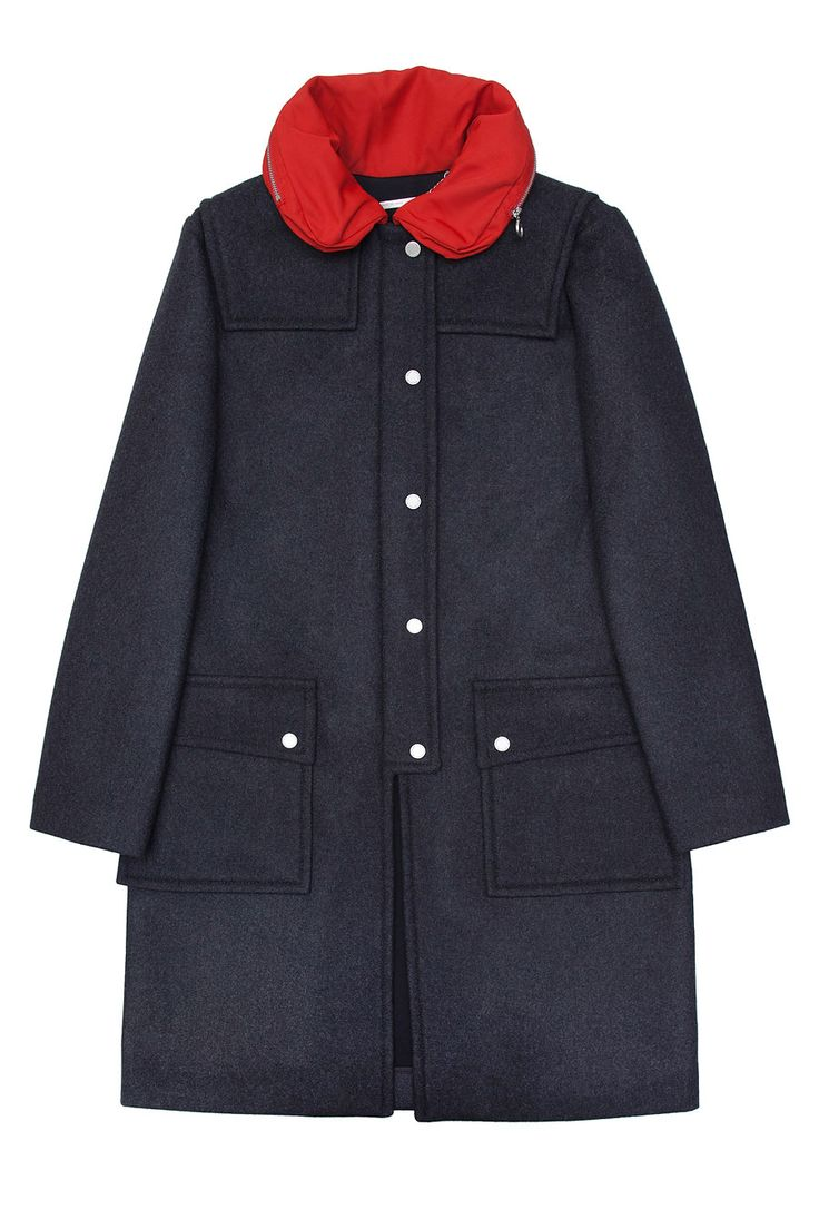 Прямое шерстяное пальто на неопреновой подкладке