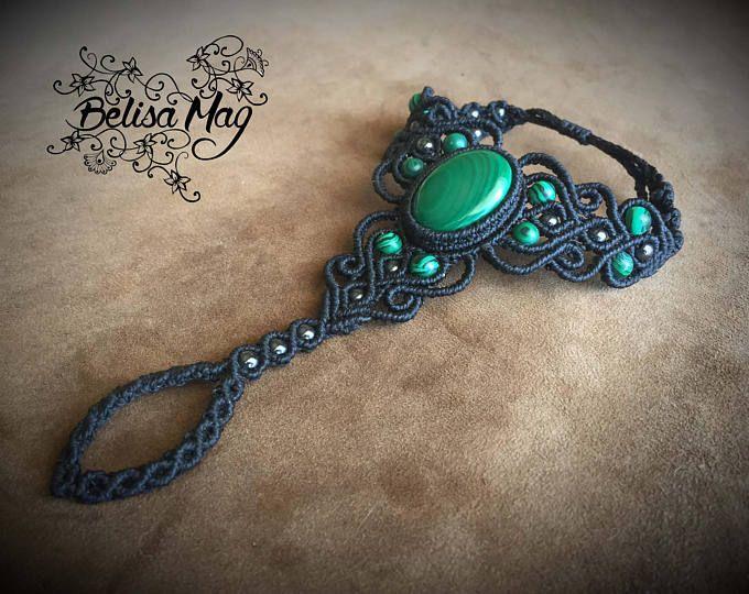 Macrame de anillo negro pulsera anillo malaquita Pulsera anillo boho, anillo medieval pulsera, pulsera pulsera anillo hada Belisamag.