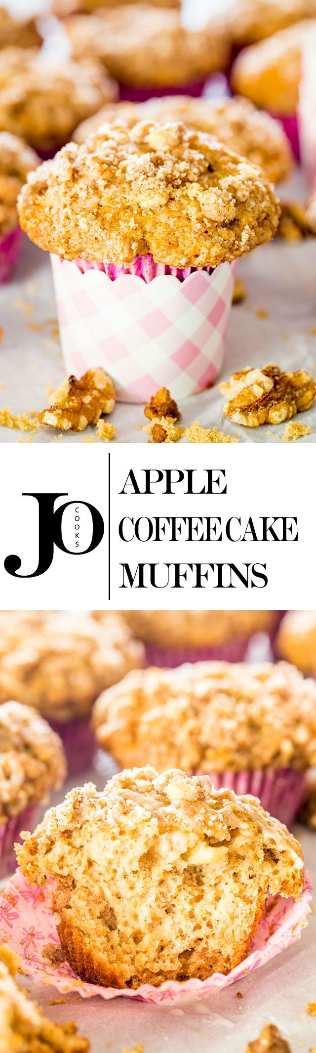 These Apple Coffee Cake Muffins are the perfect treat to surprise your mom on Mother's Day. Pieces of tender apples and walnuts in every bite, plus a delicious streusel topping.