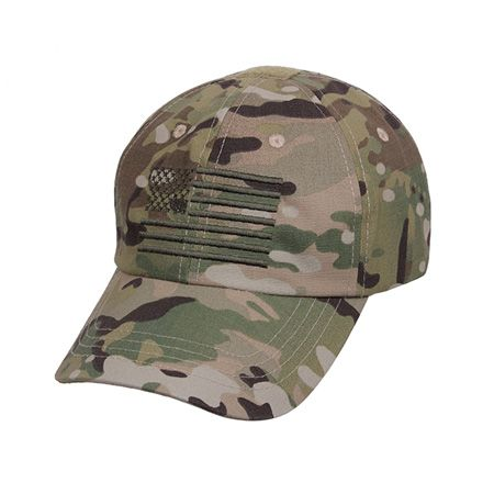 "Multicam Tactical Operator Cap with US Flag-This MultiCam Operator Tactical Cap features a 65 Poly / 35 Cotton Rip Stop MultiCam Fabric that is made in America. The tactical cap features an embroidered U.S Flag that has been designed to match the MultiCam fabric. The hat features 4 reinforced air vent holes, adjustment strap & plastic buckle which allows for the hat to fit most head sizes. In addition to the embroidery, the cap features two loop patches: one on top measuring 1.25"" x 1"" which…"