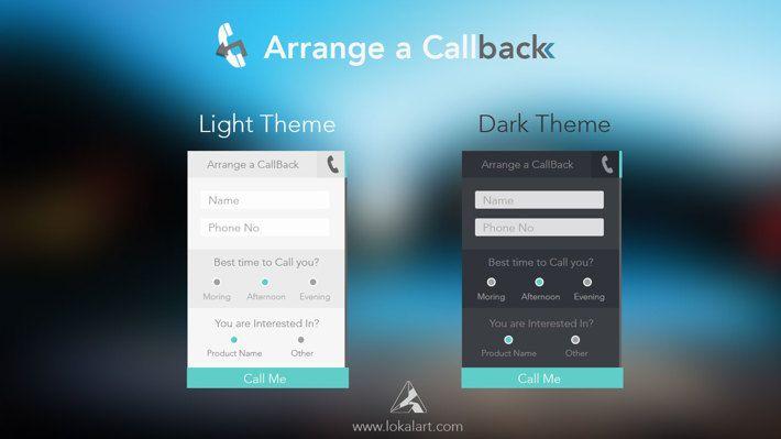 Arrange a call back UI in dark and light theme  by Uttam Soni, via Behance Quite interesting,Unfortunately limited theme colour