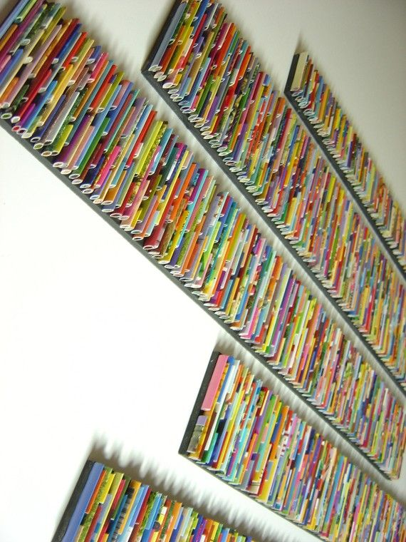 'bar code' wall art with recycled magazine pages
