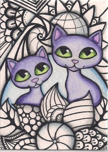 ACEO-Zentangle-Inspired-Design-Purple-Cats-Original-Art