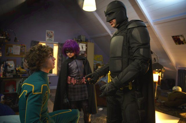 Still of Nicolas Cage, Aaron Johnson and Chloë Grace Moretz in Kick-Ass