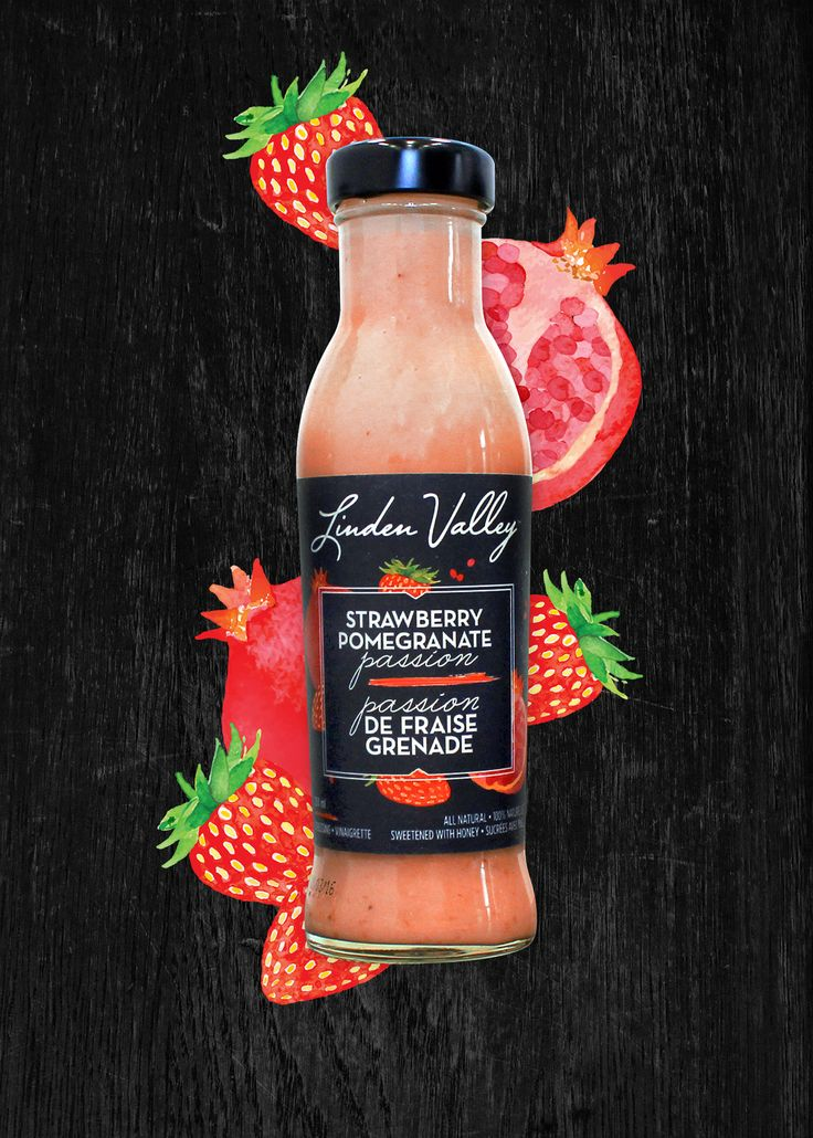 Linden Valley Gourmet | Strawberry Pomegranate Passion | This fresh fuchsia dressing is made from the juice of the super-fruit pomegranate, blended with a generous amount of fresh strawberries, and then finished off with a touch of pure natural honey for sweetness. #packaging #bottles #gourmet #artisan #saladdressing #salad #lindenvalley #blonde #dressing #tarragon #raspberry #strawberry #pomegranate #ginger #lemonpepper #design #branding #series #eat #yum