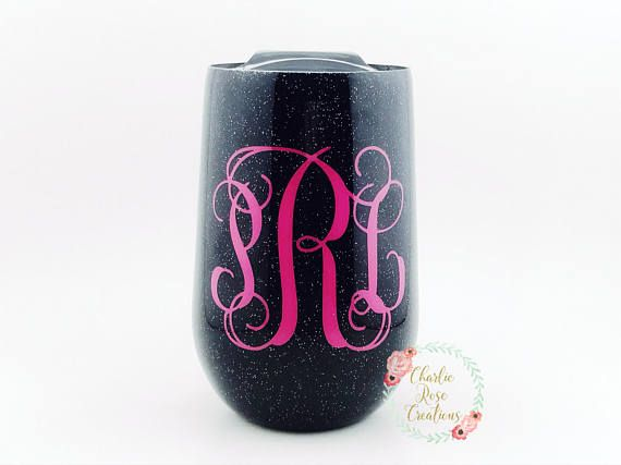 Glittered wine glass | glitter wine tumbler, stemless wine glass, custom wine glass, wine lover gift, monogram wine glass, wine lover This listing is for a glitter dipped 9 oz. WINE TUMBLER with lid!! These are also great for coffee and cocktails. Our stainless wine tumblers are double wall insulated just like our YETI style tumblers. You choose glitter color and decal. You can choose any colors for the cup as well as pattern choices. Please just leave that information in the Notes to Seller…