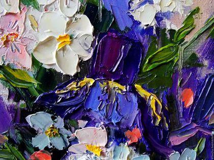 Картины цветов ручной работы. Картина маслом Букет ирисов. Художник Ирина…