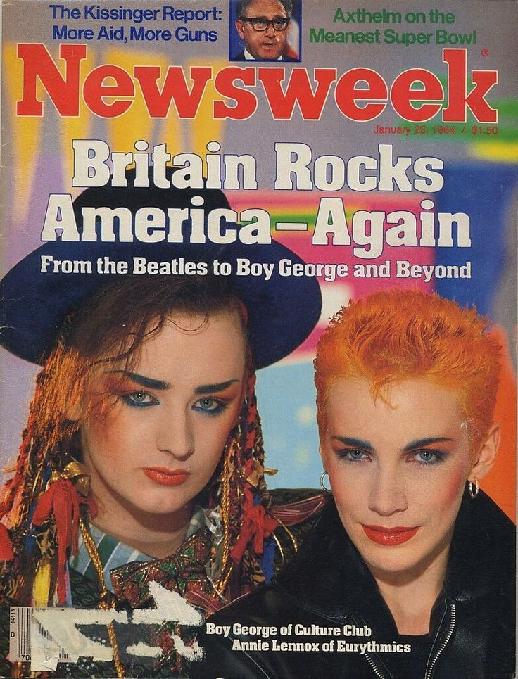 Boy George and Annie Lennox on the cover of Newsweek Magazine (July 23, 1984)