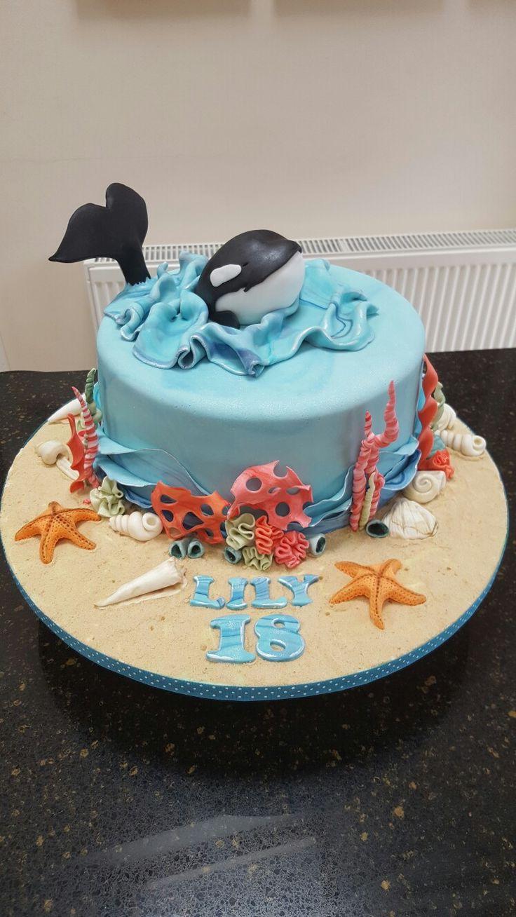Orca Killer whale ocean themed birthday cake