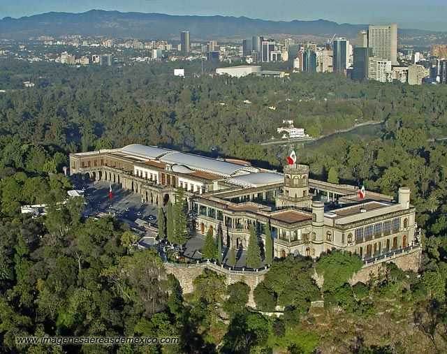 Castillo de Chapultepec - Mexico -site of the hill was a sacred place for the Aztecs. It is the only Royal Castle in the Americas.   .   .   .   photo credit: www.imagenesaereasdemexico.com  .:. with compliments from http://www.BarrySnow.com