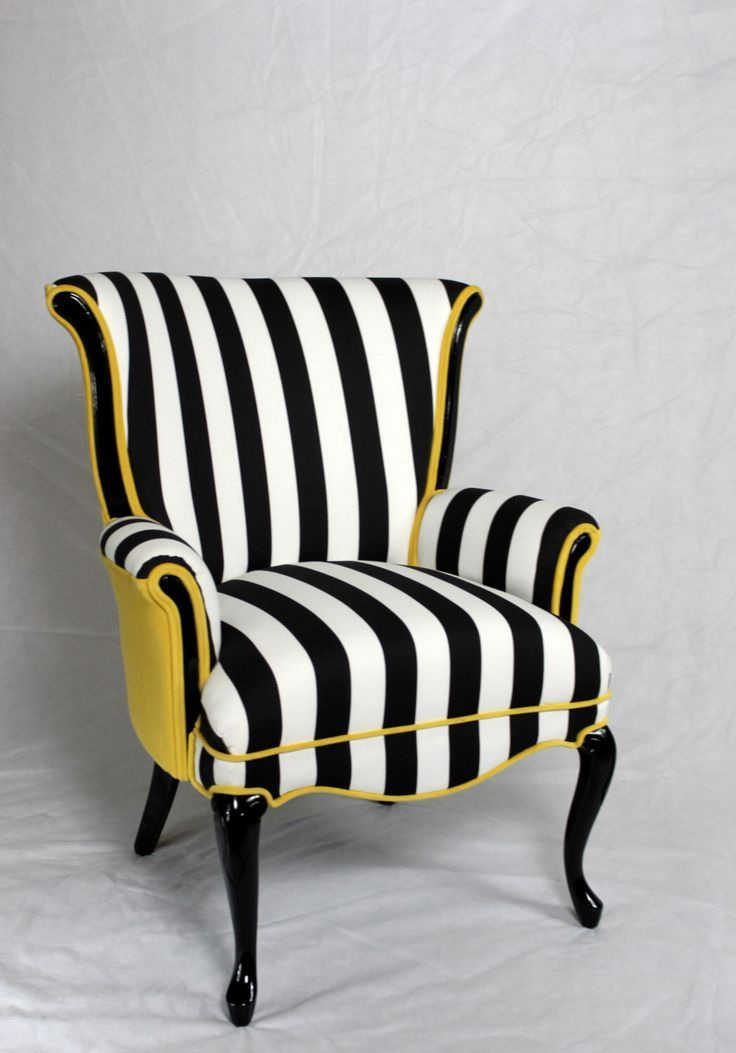 Black and white stripe chair with yellow velvet. Vintage wing back chair mid century modern chair. Element 20 designs