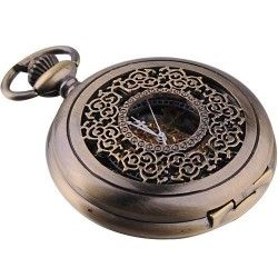 100% Brand New with excellent workmanship * Antique Brass Color case with zinc alloy material * Unique Steampunk engraved design top cover * Black dial with Roman numerals display * Classical see-through golden mechanical movement * Perfect gift for anyone who wants to be special * Daily water resistance (not for showering and swimming)
