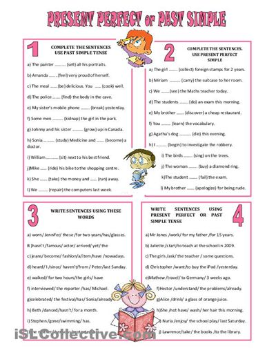 present perfect tense exercises - Google Search
