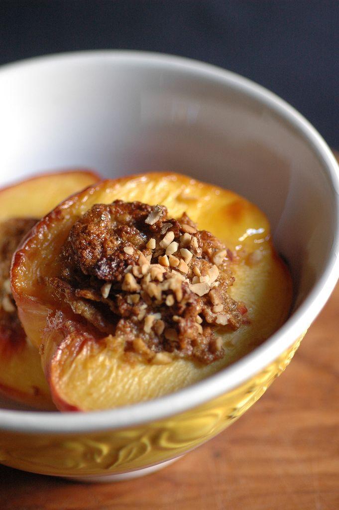 pesche ripiene -- stuffed peaches, Piemontese style (Italy). Recipe