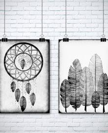 #grafika #atelio #łapacz #snów #domanska #pióra #na #ścianę #dekoracje #dom #aranżacje #sklep #online #rysunek #art
