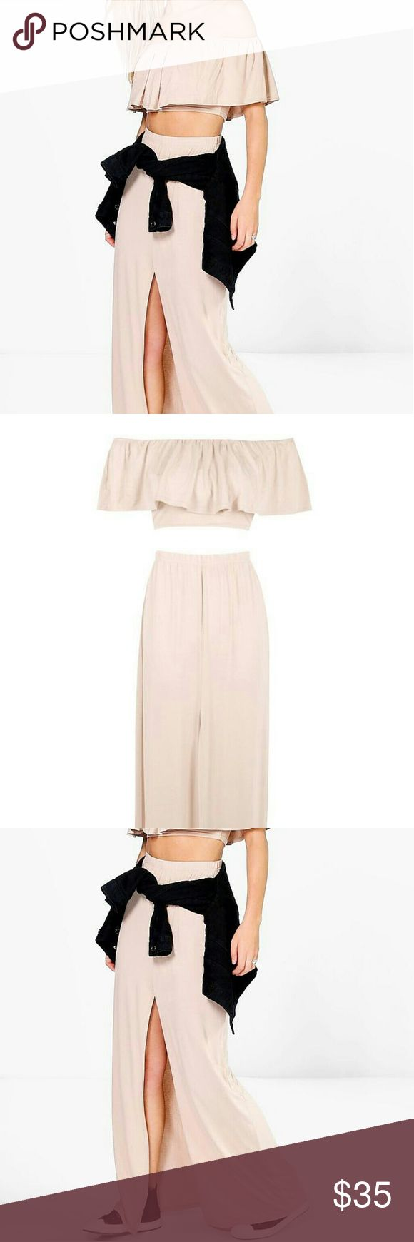 NWT Nude Co-ord Set NWT size 6 nude co-ord set. Ruffled Bandeau Top and maxi skirt with slit. Skirts Skirt Sets