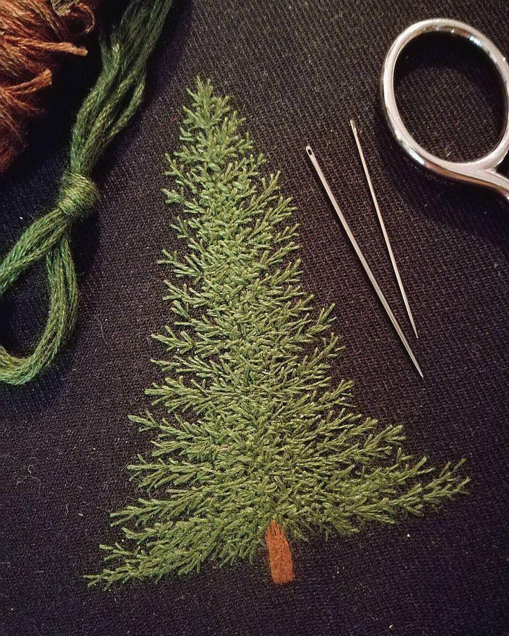 """좋아요 4,140개, 댓글 48개 - Instagram의 Professional Embroiderer(@delphil__)님: """"Un petit patch sapin à venir 🌲 . . . . . #sapin #fir #foret #forest #greenlife #simple #nature…"""""""