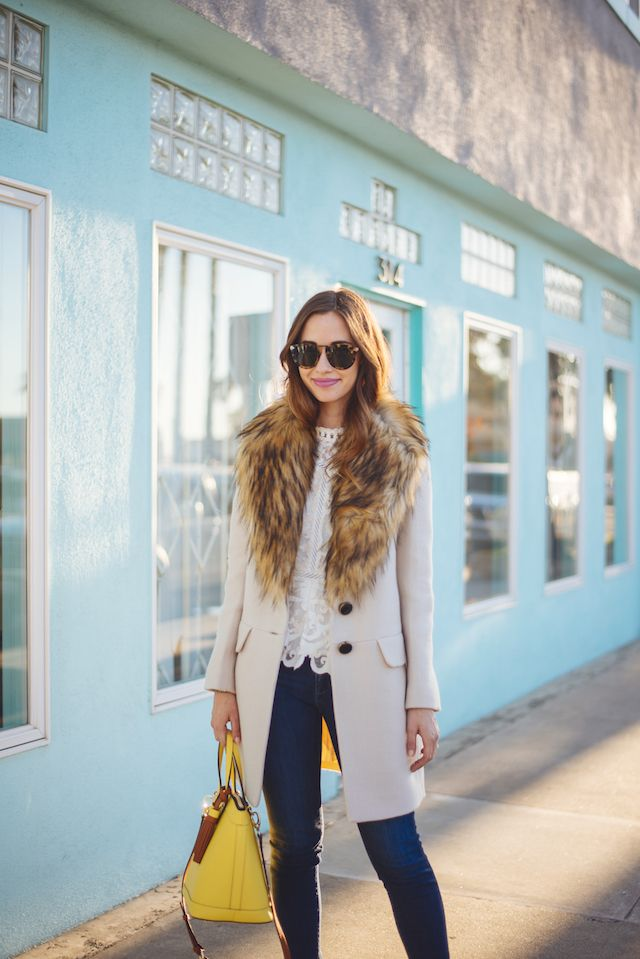 faux fur collar coat with jeans M Loves M @marmar