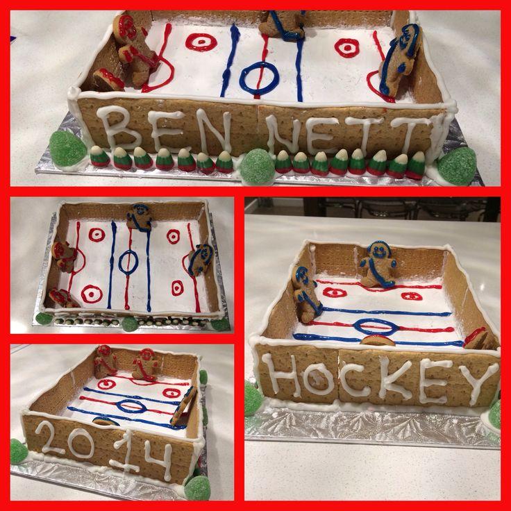 Christmas Ice Skating Rink Decoration: Gingerbread Hockey Rink