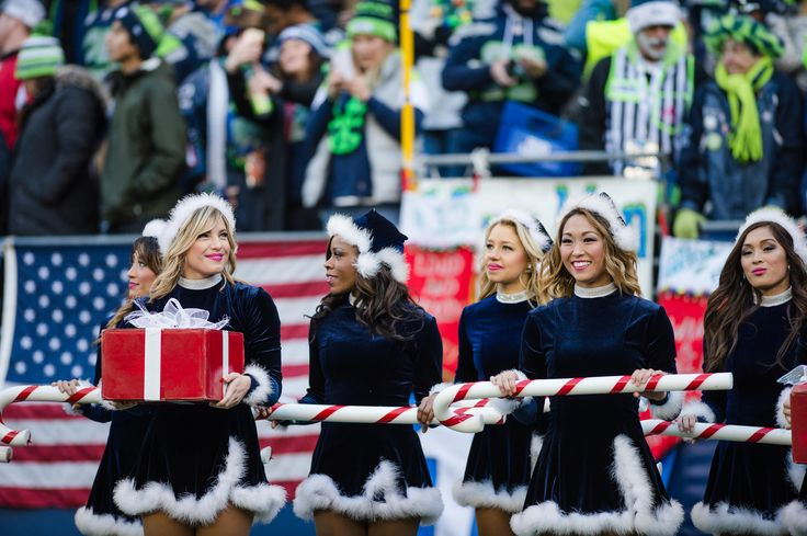 Look through photos of the Sea Gals as they perform during the Seahawks Christmas eve game against the Cardinals at CenturyLink Field.
