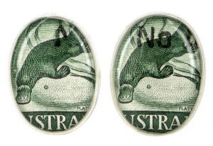 Platypus 1937 silver plate and re-purposed stamp cufflinks