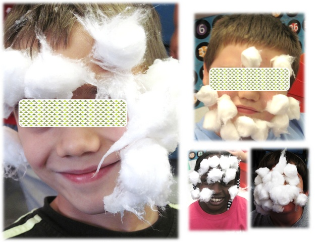 This class had such a fun Christmas Party...check out the blog....this game was for one person to be santa and one person to be the elf creating santa's beard. The Santa who had the most cotton balls vasalined to their face won!