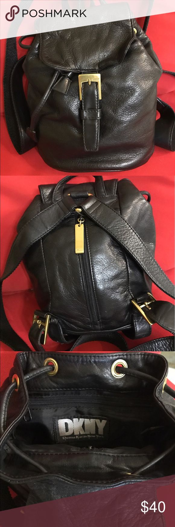 """DKNY Petite Backpack Petite H 9"""" W 8"""" Black leather backpack. Adjustable straps. Magnetic clasp, drawstring. Zipper in back for easy access. Straps are leather and nylon. Black interior. Great condition. DKNY Bags Backpacks"""