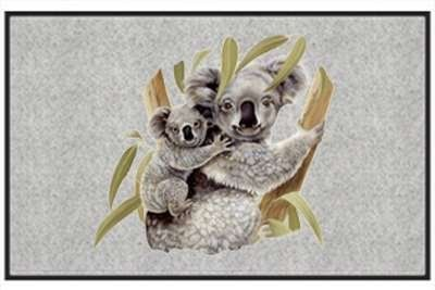 "Koala & Baby - Exotic Animal - Gray - Door and Welcome Mat by Express Yourself Mats. $24.88. Non-Skid Backing. Great Gift Idea!. Personalization Available (choose above) - EMAIL TEXT TO SELLER AFTER CHECKOUT. Door Mat Size 27""x18"". Made in USA. Enjoy the Koala & Baby design heat pressed on this light-weight, low pile, woven polyester door mat. This decorative welcome mat measures 27 x 18 inches, is 1/8 inch thick and features a non-skid latex coating on the back with ..."