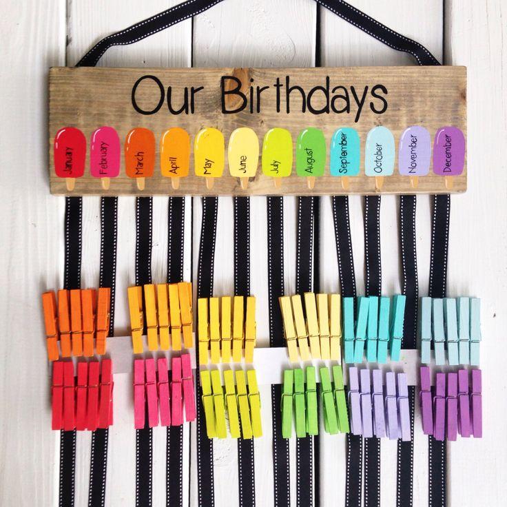 Birthday chart - class birthdays - classroom decor - rainbow classroom - colorful classroom - kindergarten class - teacher gift by LillouHandmade on Etsy https://www.etsy.com/listing/449713432/birthday-chart-class-birthdays-classroom