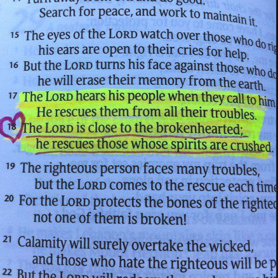 The LORD is close to the brokenhearted & saves those who are crushed in spirit. Psalm 34:17,18