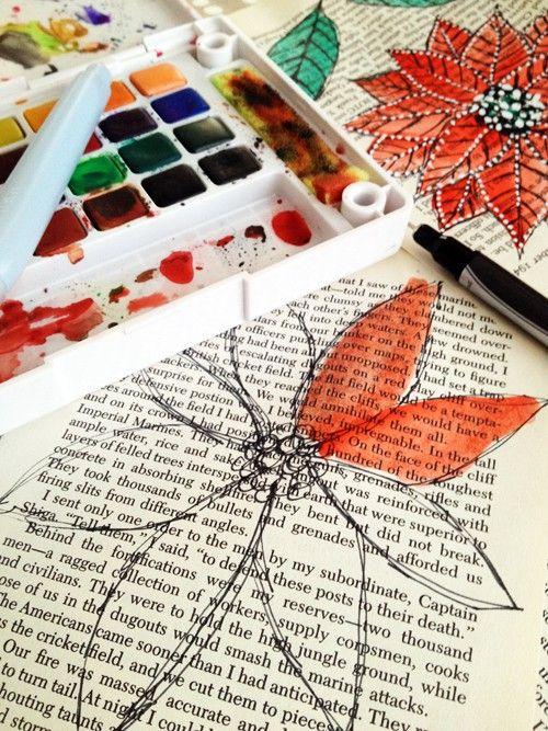 Watercoloring on printed paper