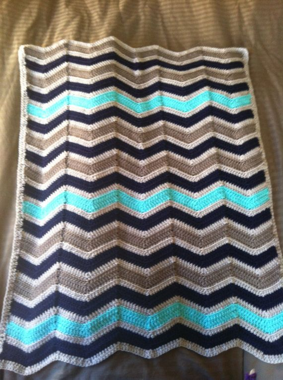 Chevron Crochet Baby Boy Blanket Jack Bauer by ...