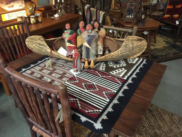 Elm Bark Canoe With Skookum Indian Dolls,on A Old Hickory Table /Chair Set
