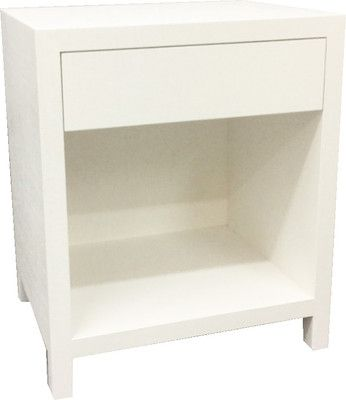 Off White Linen Wrapped Side Tables With Upper Drawers And Lower Shelf