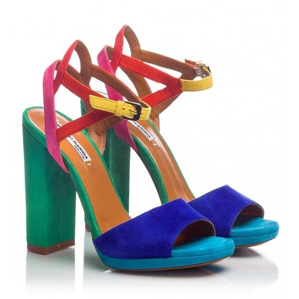 Fratelli Karida - Colorblock suede cut-out detailed high block heels... ($230) ❤ liked on Polyvore featuring shoes, sandals, multicolour, block shoes, suede sandals, cut out sandals, colorful shoes and caged shoes