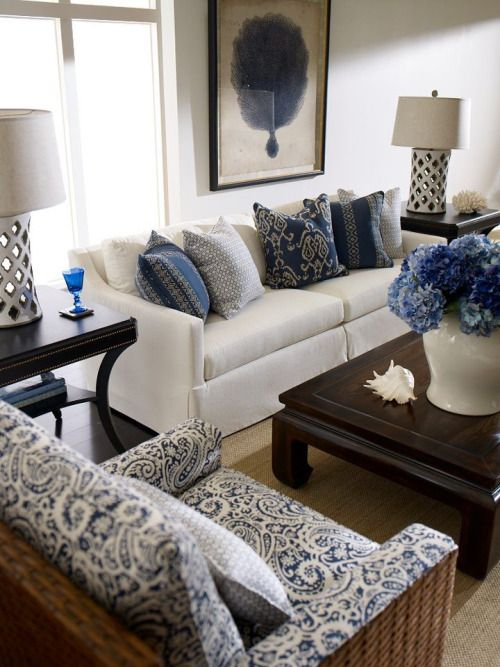 Ethan Allen Nautical Living Room- all blue but great mix of hues and patterns