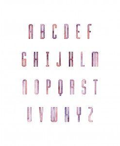 Magenta Painted Alphabet