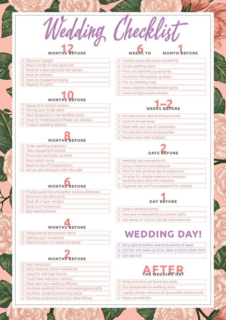 Printable Wedding Checklist PDF Download Printable wedding planning checklis… in 2020   Wedding ...