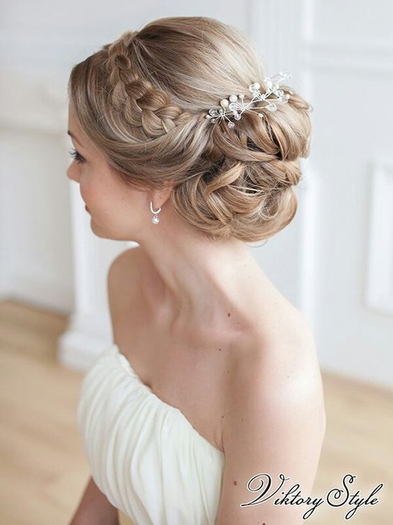 Wedding hairstyles updo with headband and braid/ Wedding hairstyles medium lengt…