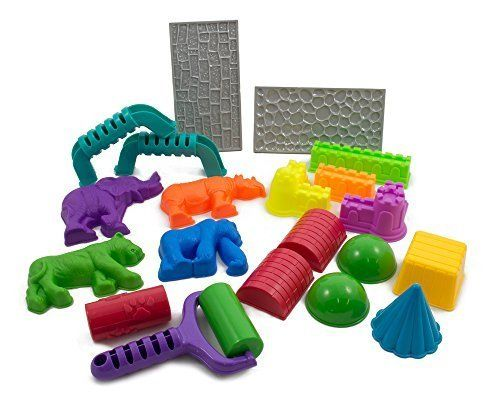 Sands Alive! 18 Piece Deluxe Molds Set - Safari Animals, Mini Castles and Geometric Shapes (Sand not included) Compatible with Sands Alive!, Kinetic Sand, Brookstone Sand, Moon Sand, Any Molding Sand. This Sand Molds Set contains 18 animal, castle and geometric shaped tools for indoor play sand. Compatible with Sands Alive!, Kinetic sand, Brookstone sand, Waba sand, Magic sand, Moon sand, etc. Sand is NOT included with this variety sand castle mold set. This 18 piece custom mold set is…