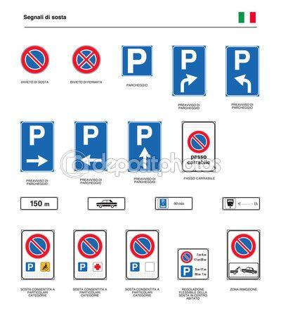 Segni di parcheggio su strada italiano — Vettoriali Stock © frizio #125715122