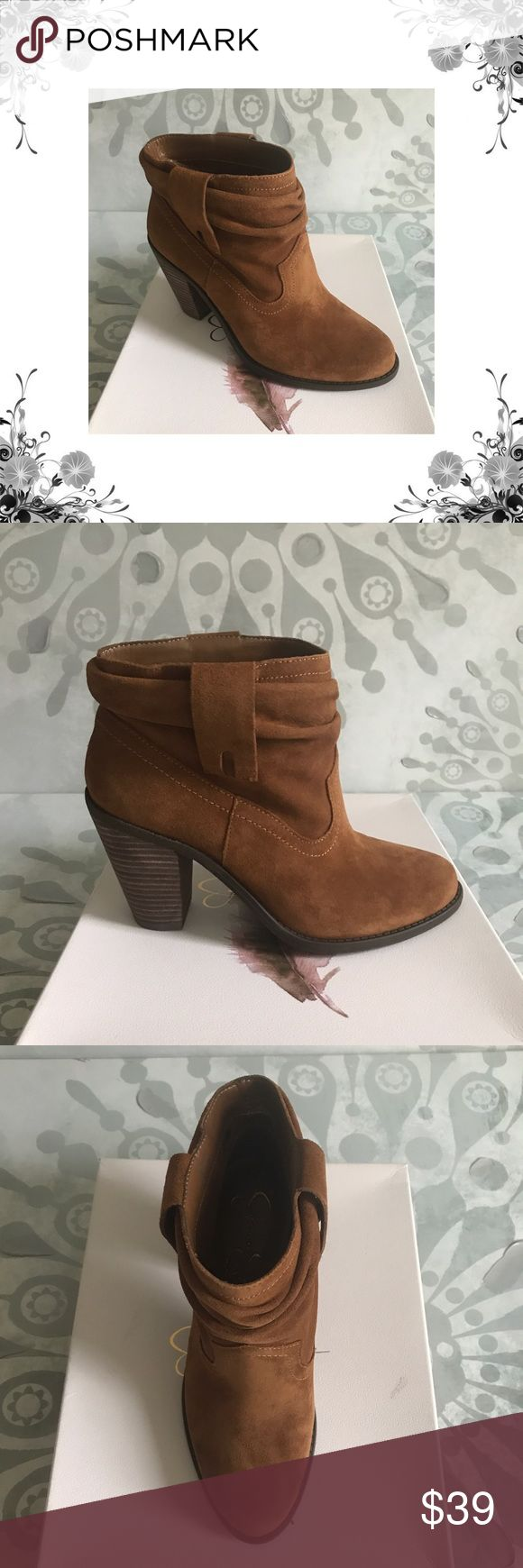 """Jessica Simpson 'Chantie' Brown Booties Manufacturer Color is Canela Brown. New with box. Heel Height is approx 3 3/4"""".  Platform Height is approx 1/4"""". Shaft Height is approx 4 3/4"""". Shaft Width is approx 12"""". Pull On Closure. Material is Leather Upper/Man Made Outsole. Fabric Type is Suede. Bundle for discounts! Thank you for shopping my closet! Jessica Simpson Shoes Ankle Boots & Booties"""