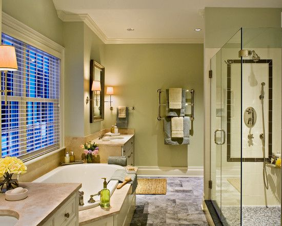 Bathroom Among Green Wall, White Ceiling, Tub, Glass Shower Room, Also Grey Floor Under House