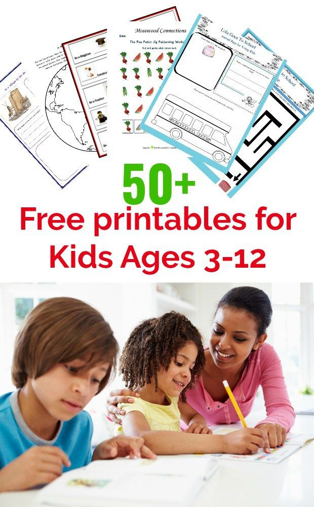 50+ Free Printables for Kids Ages 3 to 12: Science, Language Arts, Social Skills, Games, Activities and More!