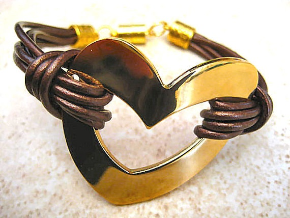 "Chic Metalic Espresso Brown Leather Gold Stainless Steel Heart Bracelet ... Magnetic Clasp ...""FREE SHIPPING""    by LeatherDiva, $24.00"