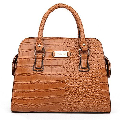 Michael Kors Gia Embossed Large Brown Satchels only $72.99