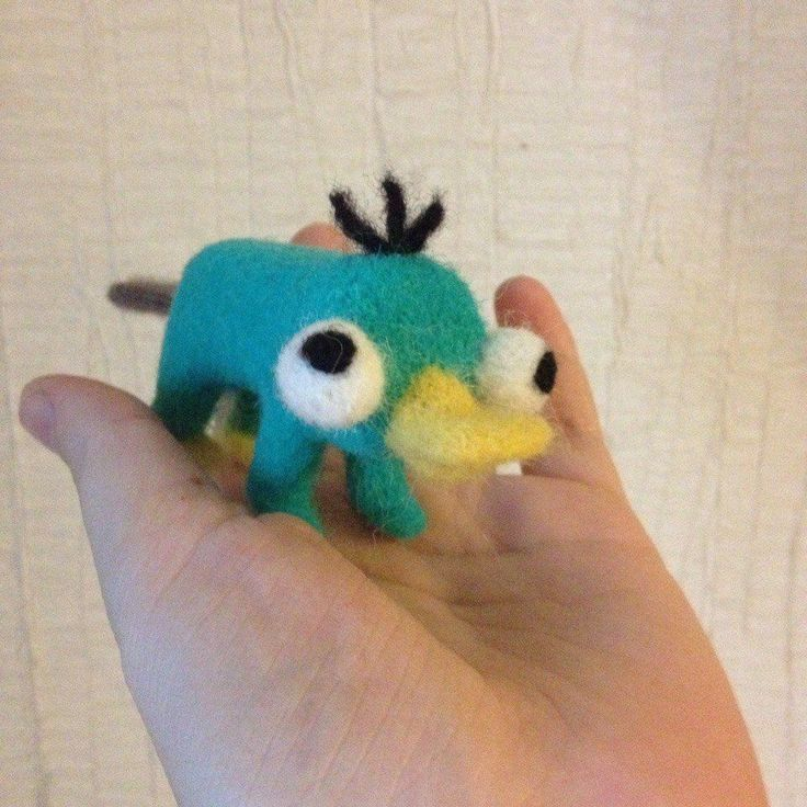 Handmade needle felted wool Perry The Platypus artwork ooak miniature little toy #Unbranded