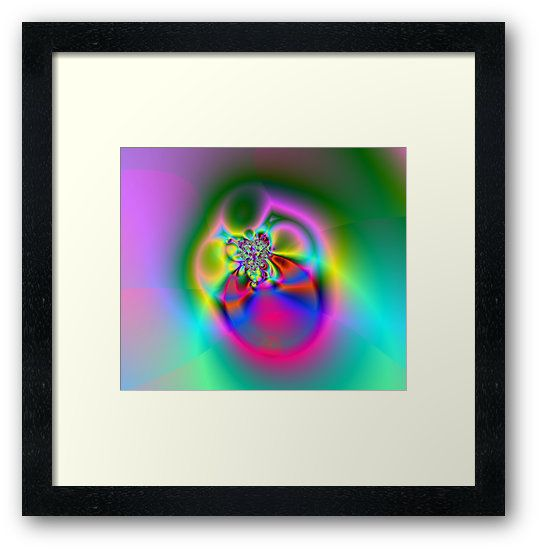 Illusion (FL24-002) Framed Prints by Terrella.  A bright and colourful fractal image which some see as flowers, others a fly or beetle and some see a ring. What do you see? • Also buy this artwork on wall prints, apparel, phone cases, and more.