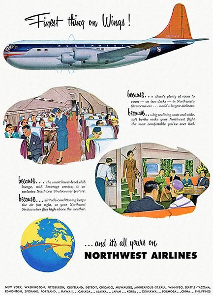 Northwest Airlines - Stratocruiser - 1950 - Travel Poster