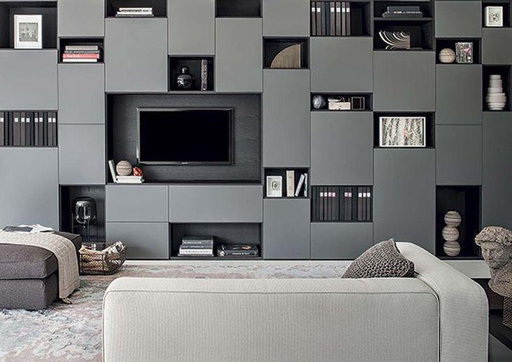 contemporary tv wall unit lacquered wood selecta lema home - Wall Modern Design